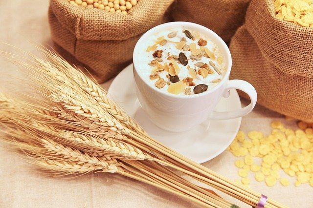 Cereals in milk for breakfast from the five food groups for a healthy diet