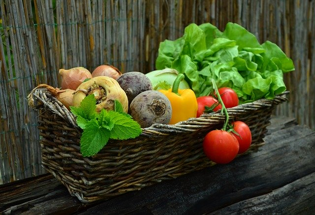 Vegetables of all colours, for a healthy diet from the five food group
