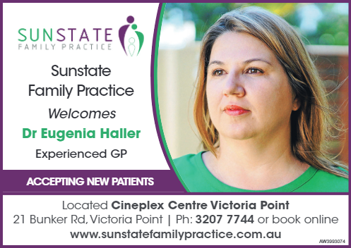 Advertisement welcoming and featuring Dr Eugenia Haller, an experienced GP, to Sunstate Family Practice